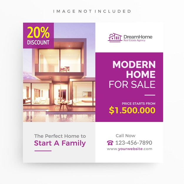 Home For Sale Real Estate Banner Template For Promotion Premium Vector