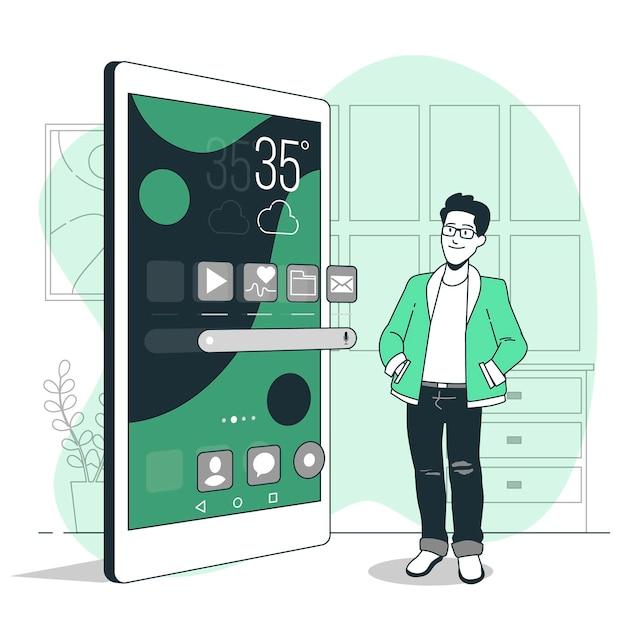 Illustrazione del concetto di schermata iniziale Vettore gratuito