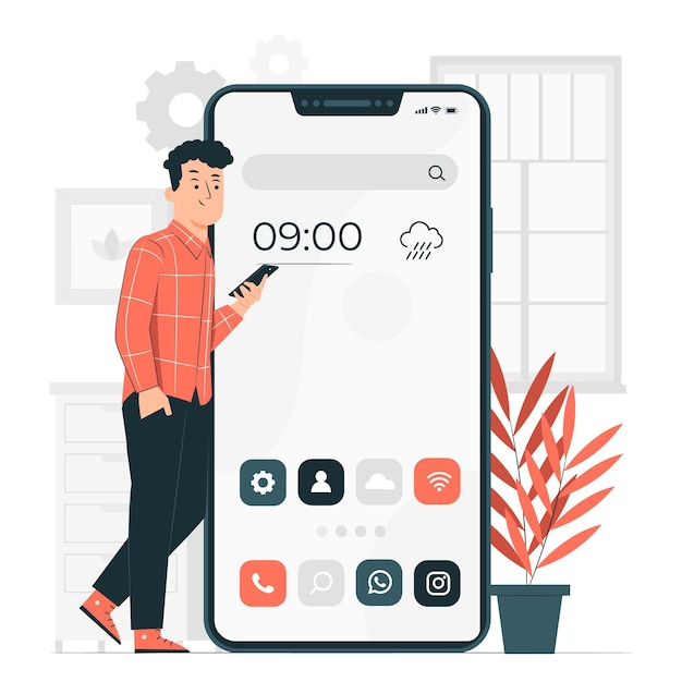 Home screen concept illustration Free Vector