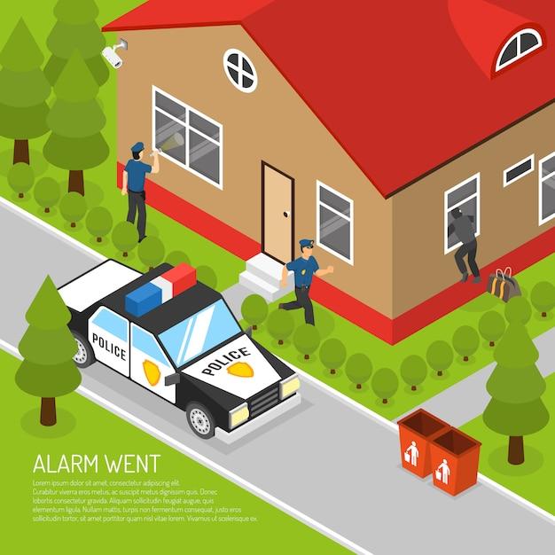 Home security alarm response isometric illustration Free Vector