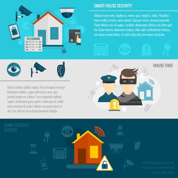Набор шаблонов баннеров домашней безопасности Бесплатные векторы