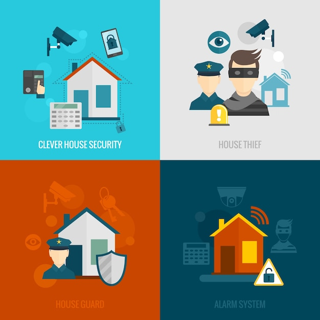 Home security flat set Free Vector