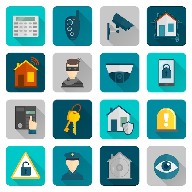 Home security icons flat Free Vector