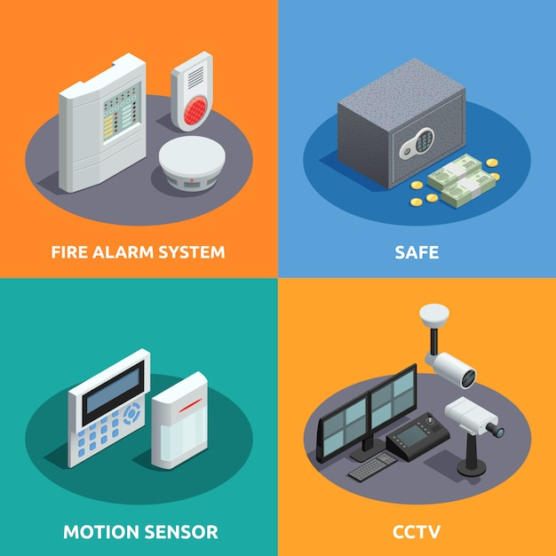 Home security isometric card set Free Vector