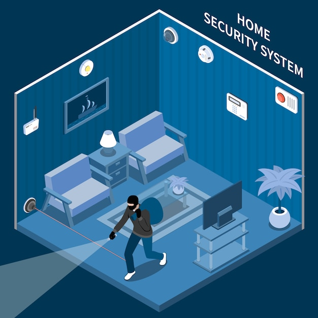 Home security isometric composition with thief in room equipped with laser alarm system and different sensors Free Vector