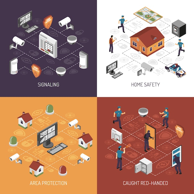 Home security isometric icons square Free Vector
