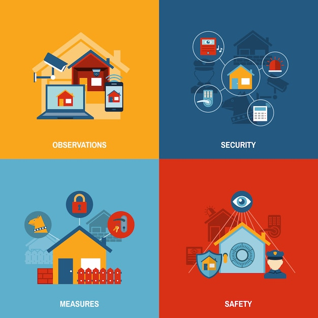 Home security set Free Vector