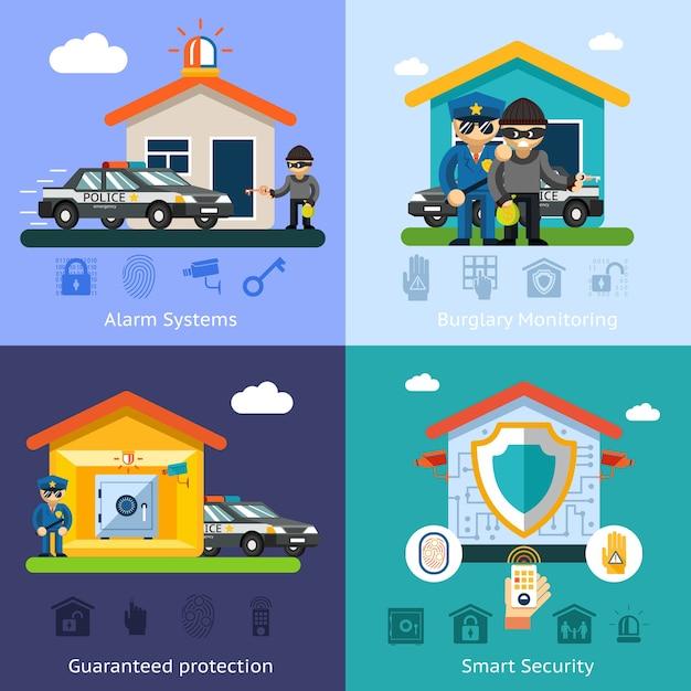 ホームセキュリティシステムフラット背景の概念。住宅設計技術、シンボル安全管理保護 無料ベクター