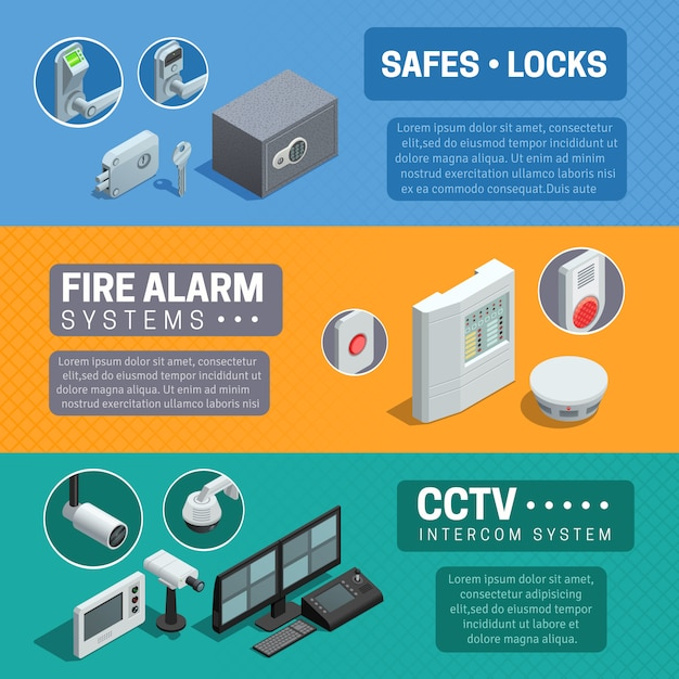 Home security system isometric banners set Free Vector