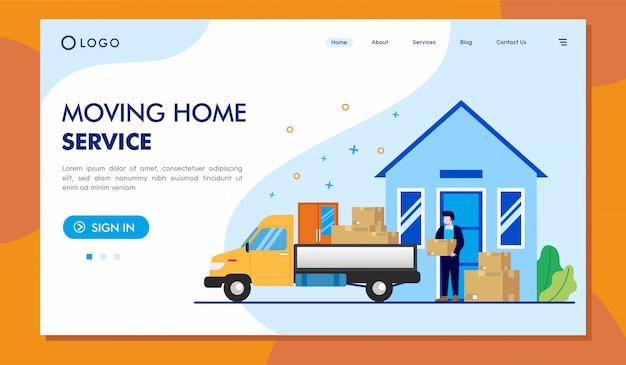 Перемещение home service landing page иллюстрация сайта Premium векторы