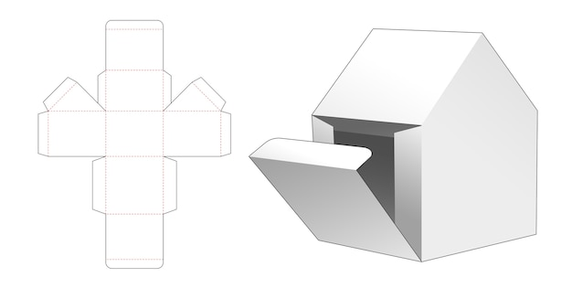 Home shaped gift box with side opening point die cut template Premium Vector