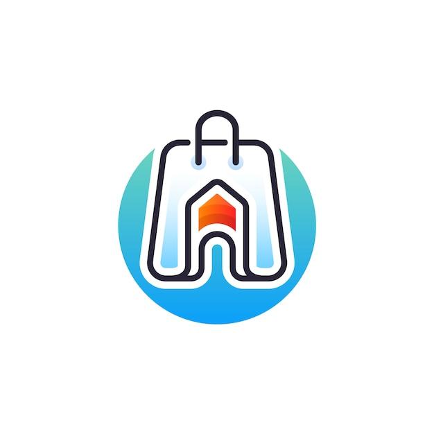 Home shop logo design Premium Vector