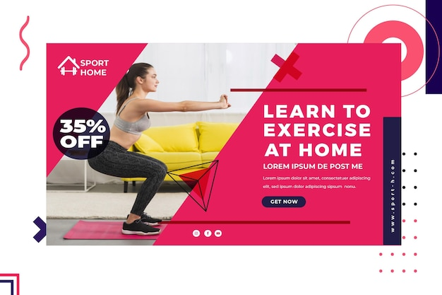 Home sport horizontal banner template with photo Free Vector