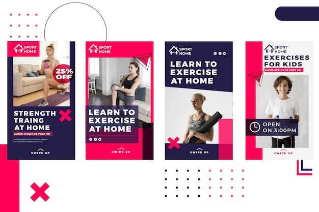 Modello di storie di instagram di sport da casa con foto Vettore gratuito