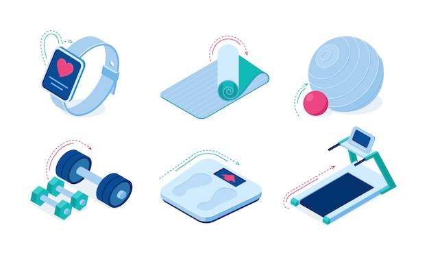 Домашнее спортивное оборудование для тренировок и гаджеты изометрические векторные иконки. Бесплатные векторы