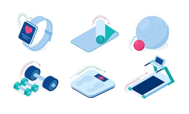 Home sport workout equipment and gadgets isometric vector icons. Free Vector