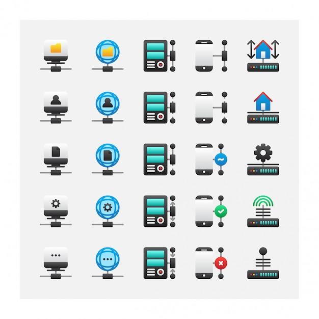 Home stand alone server icon set vector collection Vector
