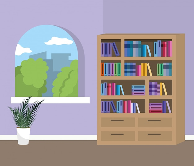 Home study room with books design Free Vector