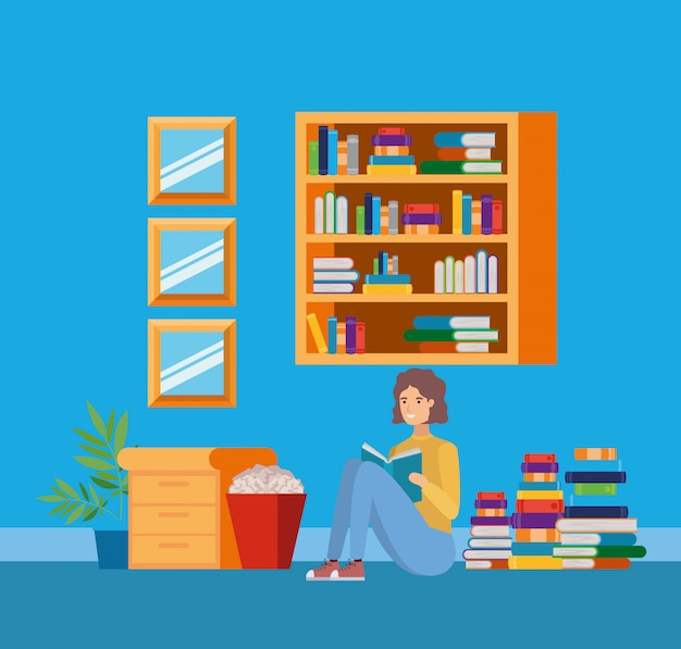 Home study room with books Free Vector