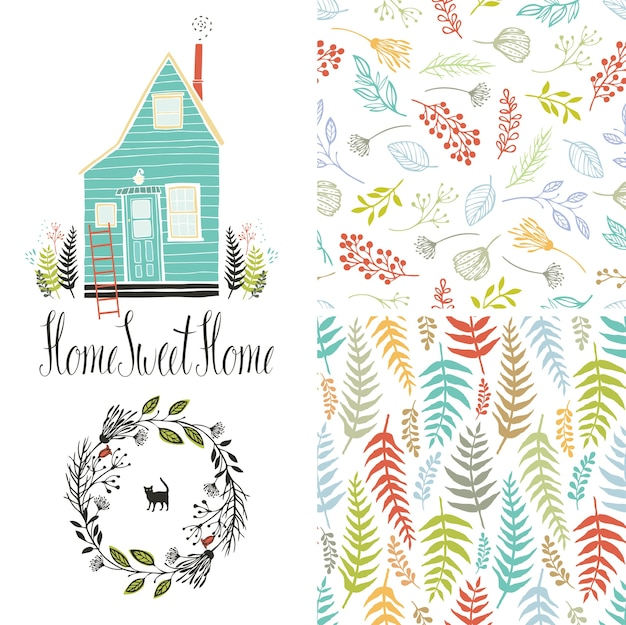 Home sweet home, floral fern patterns and round frame Free Vector