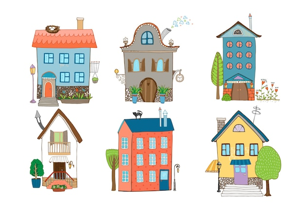 Home sweet home - insieme di case disegnate a mano in diversi stili architettonici con piante e alberi isolati su bianco Vettore gratuito