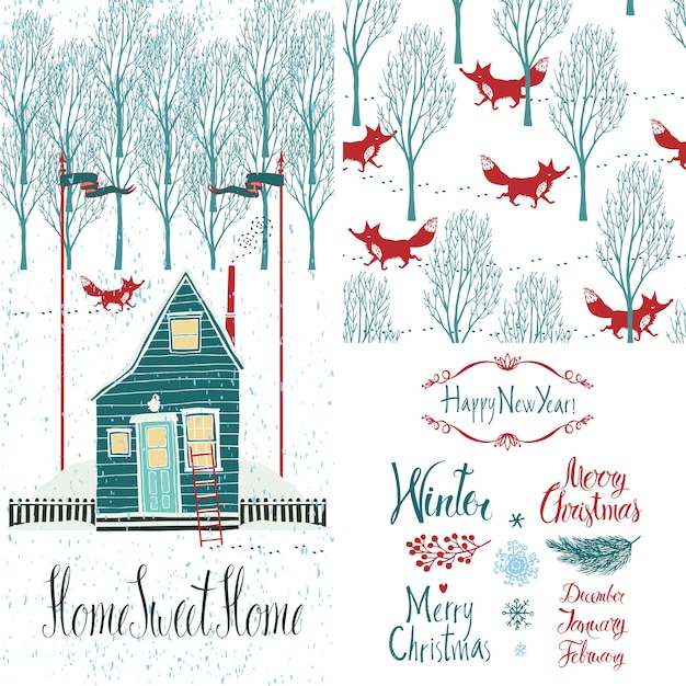 Home sweet home winter set Free Vector