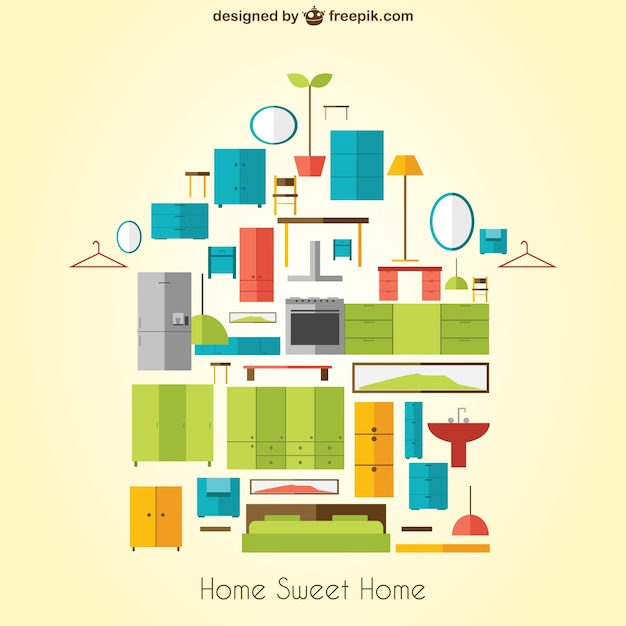 Merveilleux Home Sweet Home With Furniture Free Vector