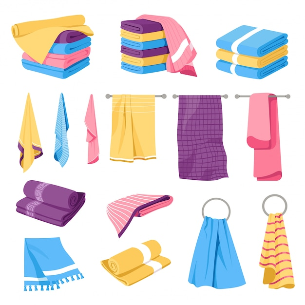 Home textile, towel stacks and holders, Premium Vector