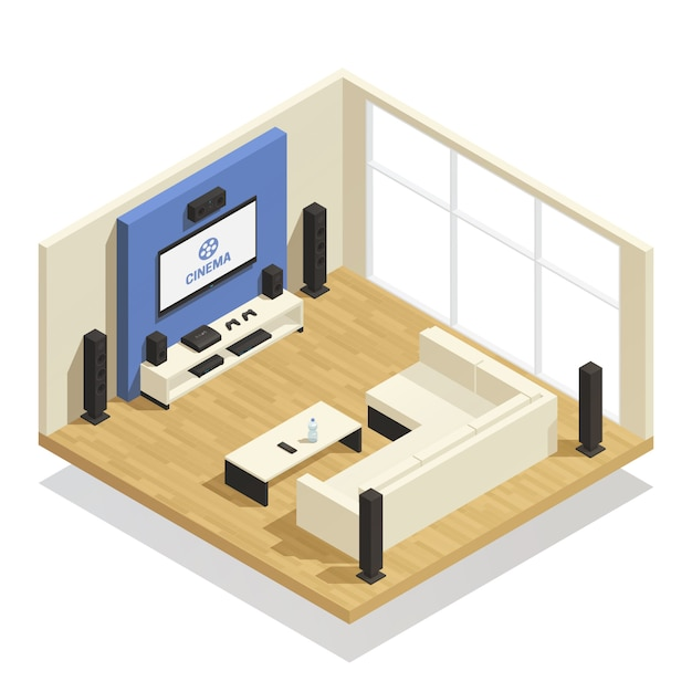 Home theater isometric composition Free Vector
