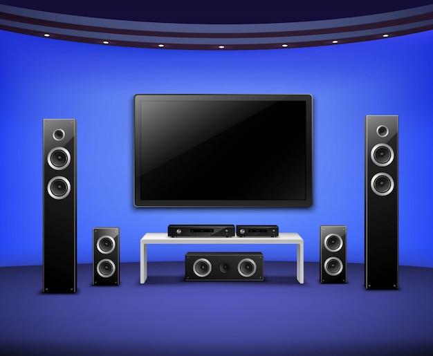 Home theater realistic interior concept Free Vector