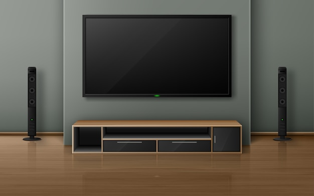 Free Vector Home Theater With Tv Screen And Speakers In Modern Living Room Realistic Interior With Plasma Television Hanging On Wall Sound Stereo System And Stand On Wooden Floor