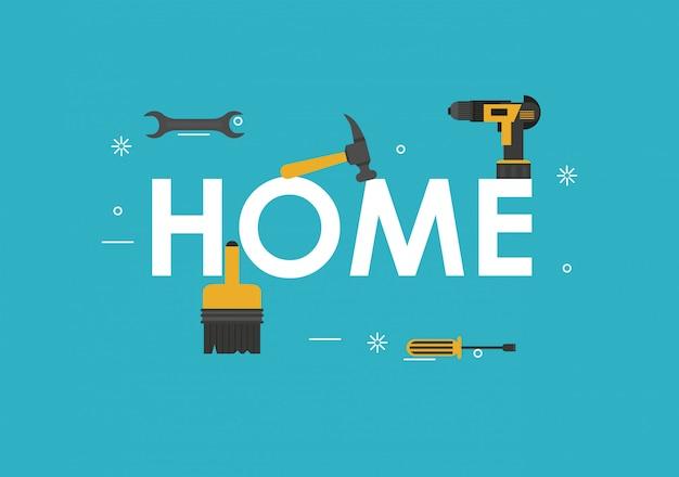 Home tools banner Premium Vector