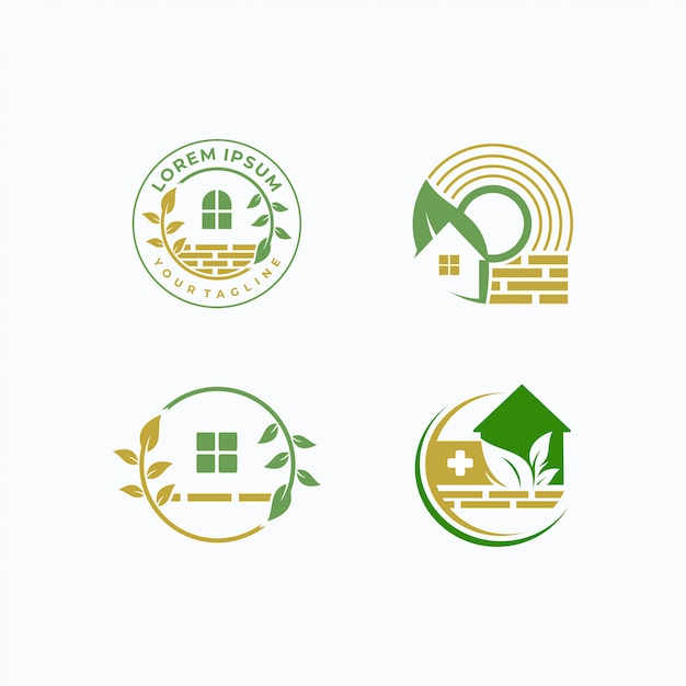 Home and tree logotype template Premium Vector