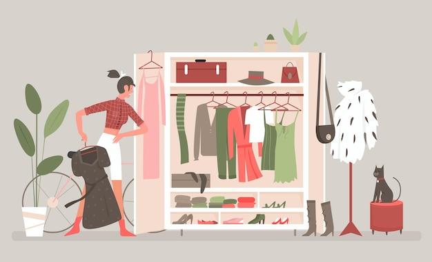 Home wardrobe room for clothes Premium Vector