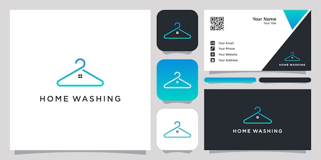Home washing logo with line art design and business card Premium Vector