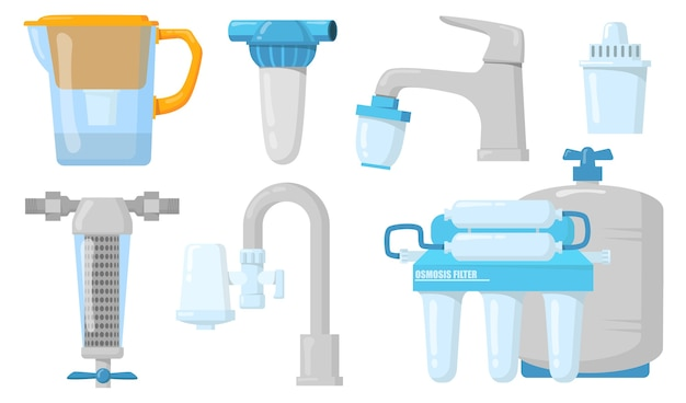 Home water filters flat set for web design. cartoon jugs and taps with filtration system isolated vector illustration collection. purification and clean drink concept Free Vector