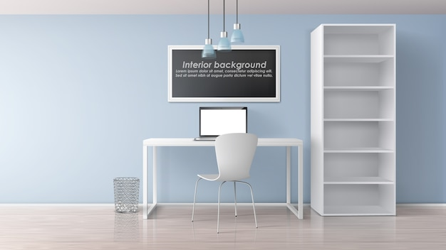 Home workplace in apartment room minimalistic interior 3d realistic vector mockup. painting frame with sample text under work desk with laptop on it, chair and rack with empty bookshelves illustration Free Vector