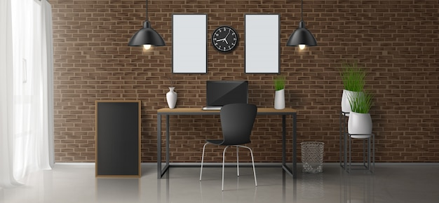Home workplace, office room 3d realistic vector minimalistic design or loft style interior with laptop on work desk, blank paintings, photo frames on brick wall, hanging lamps, flowerpots illustration Free Vector