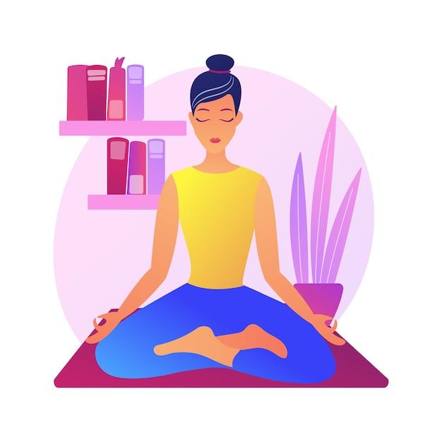 Иллюстрация абстрактной концепции домашней йоги. домашний карантин, онлайн-класс силовой йоги, снятие стресса, внимательность, прямые трансляции, сидение дома, социальная дистанция. Бесплатные векторы