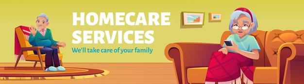 Banner di promozione dei servizi di assistenza domiciliare Vettore gratuito