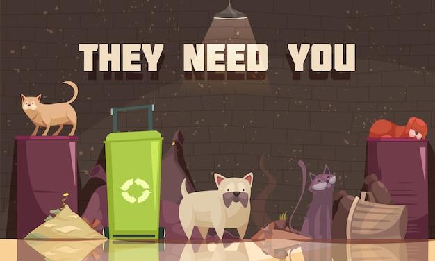 Animali senzatetto con gatti vicino a contenitori per la spazzatura e hanno bisogno che tu apprezzi il titolo Vettore gratuito