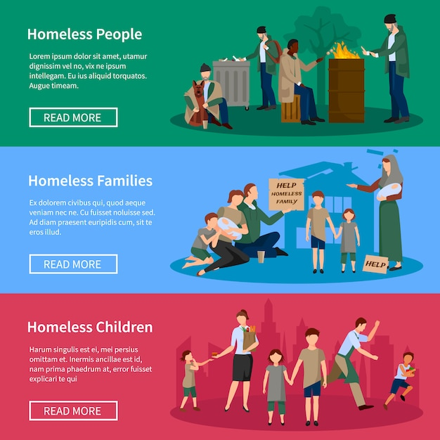 Homeless banner set with people living on the street without food and money Free Vector