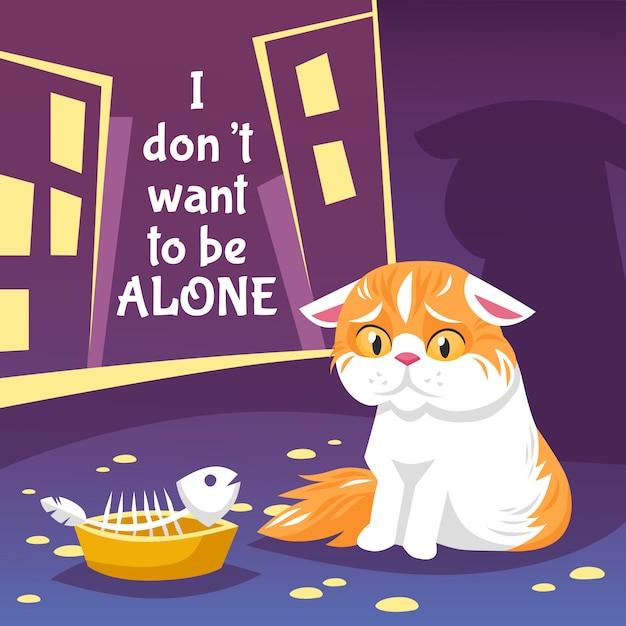 ホームレスの猫のイラスト 無料ベクター