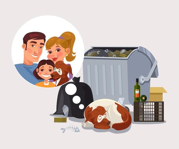 ホームレスの犬は家族の漫画のイラストを覚えています Premiumベクター