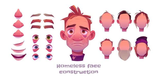 Costruzione del viso uomo senza casa, creazione di avatar con diverse parti della testa su bianco Vettore gratuito