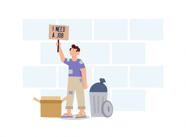 Homeless men who don't have a home need work flat design illustration Premium Vector