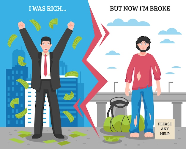 Homeless people after before composition Premium Vector