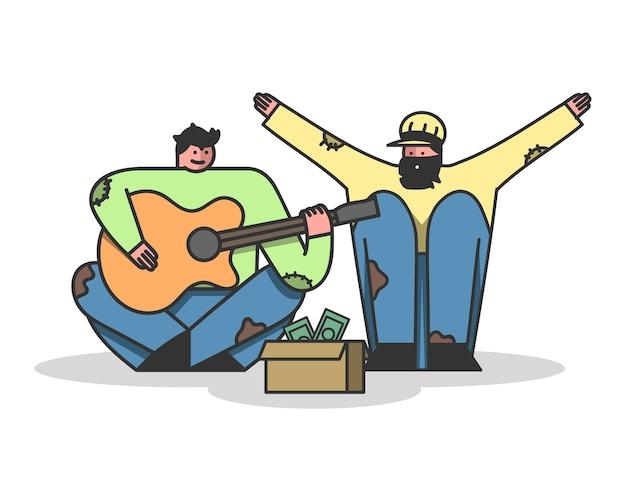 ホームレスの人々はギターを歌ったり弾いたりしてお金を乞う Premiumベクター