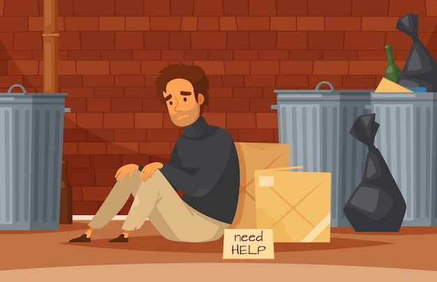 Homeless people cartoon composition with sad poor homeless man sits on the ground with nameplate need help Free Vector