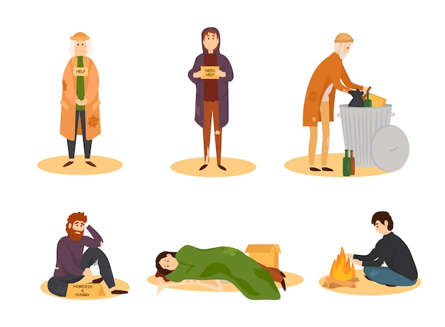 Homeless people cartoon set Premium Vector